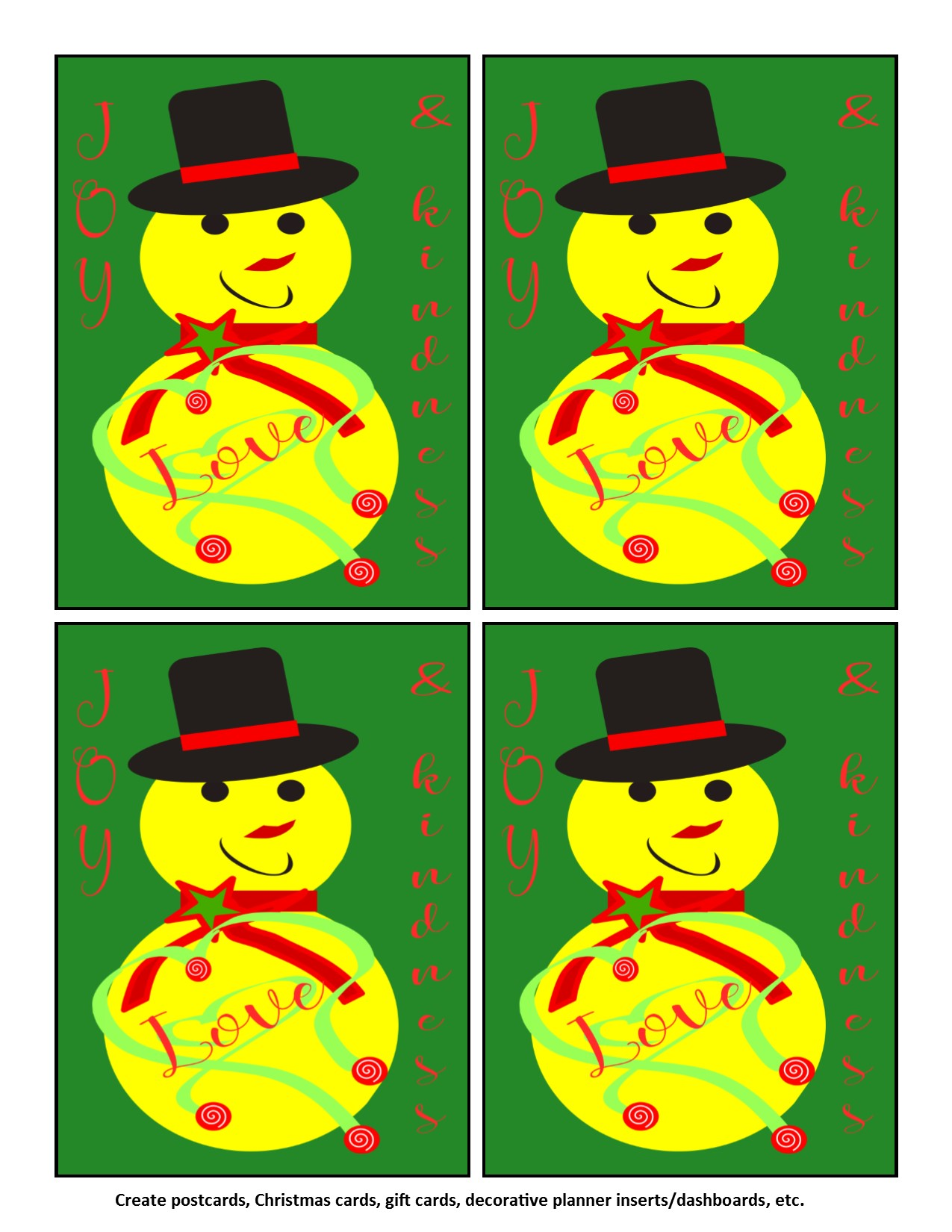 Joy Love Kindness Yellow Snowman Instant Download